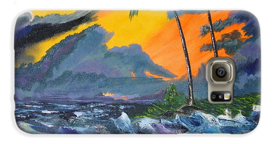 Knifework Galaxy S6 Case featuring the painting Eye Of The Storm by Susan Kubes