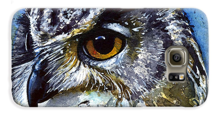 Owls Galaxy S6 Case featuring the painting Eyes Of Owls No.25 by John D Benson