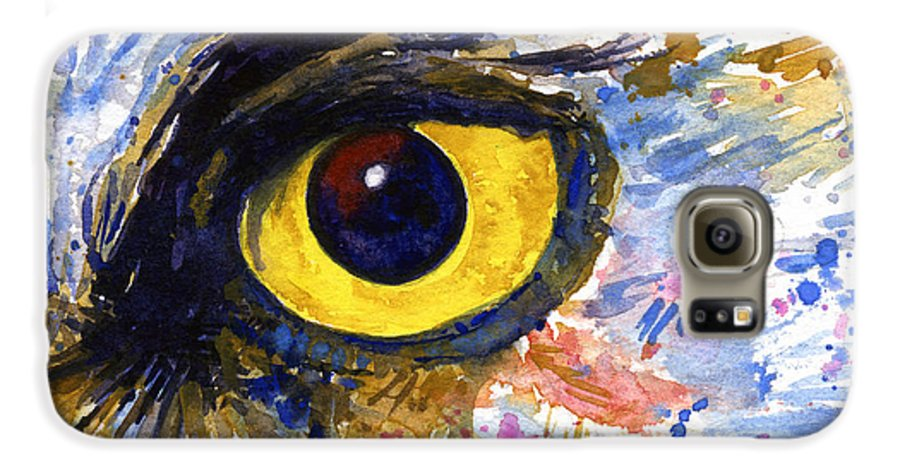 Owls Galaxy S6 Case featuring the painting Eyes Of Owl's No.6 by John D Benson