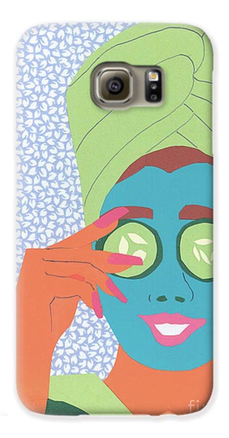 Face Galaxy S6 Case featuring the mixed media Facial Masque by Debra Bretton Robinson