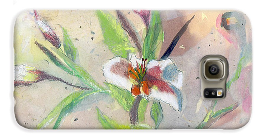 Flower Galaxy S6 Case featuring the painting Faded Lilies by Arline Wagner