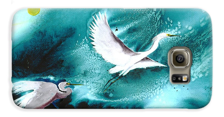 A Pair Of Egrets By The Water At Night- A Watercolor Painting Galaxy S6 Case featuring the painting Fairies by Mui-Joo Wee