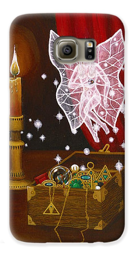 Fairy Galaxy S6 Case featuring the painting Fairy Treasure by Roz Eve