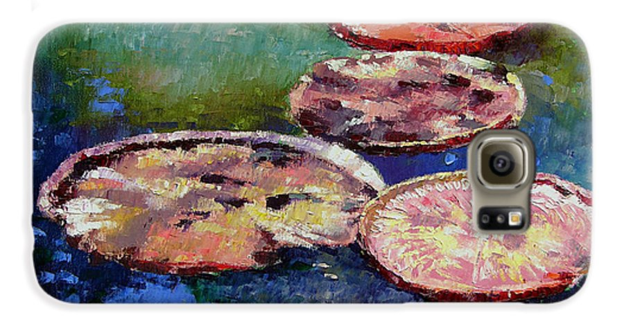 Fall Water Lilies Galaxy S6 Case featuring the painting Fall Colors On The Pond by John Lautermilch
