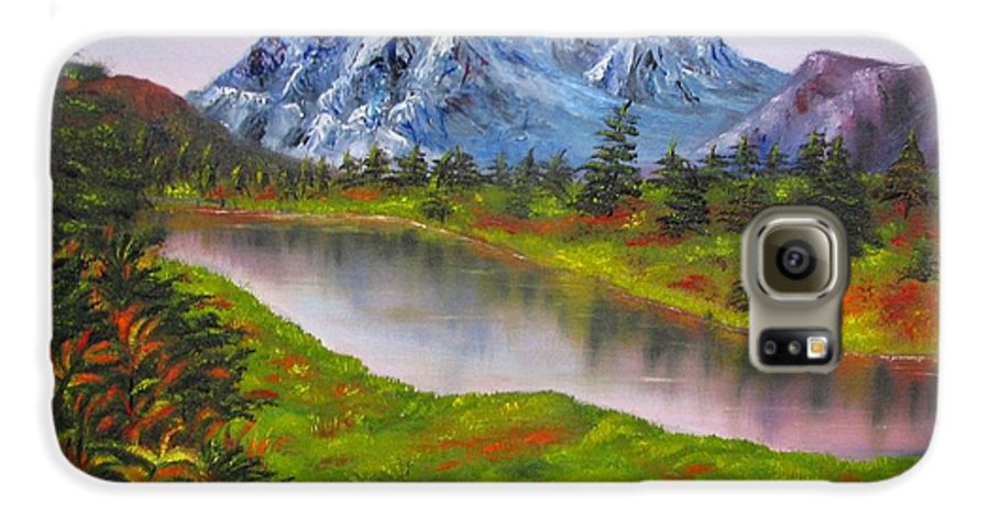 Fall Galaxy S6 Case featuring the painting Fall In Mountains Landscape Oil Painting by Natalja Picugina