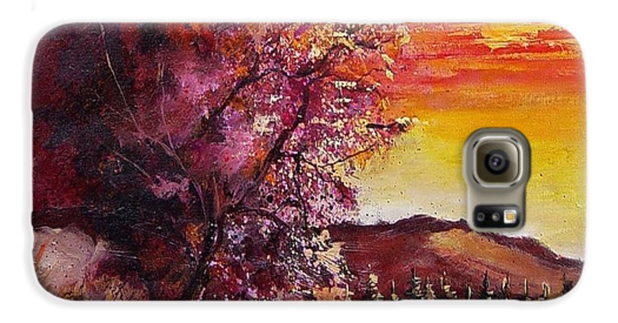Autumn Galaxy S6 Case featuring the painting Fall In Villers by Pol Ledent