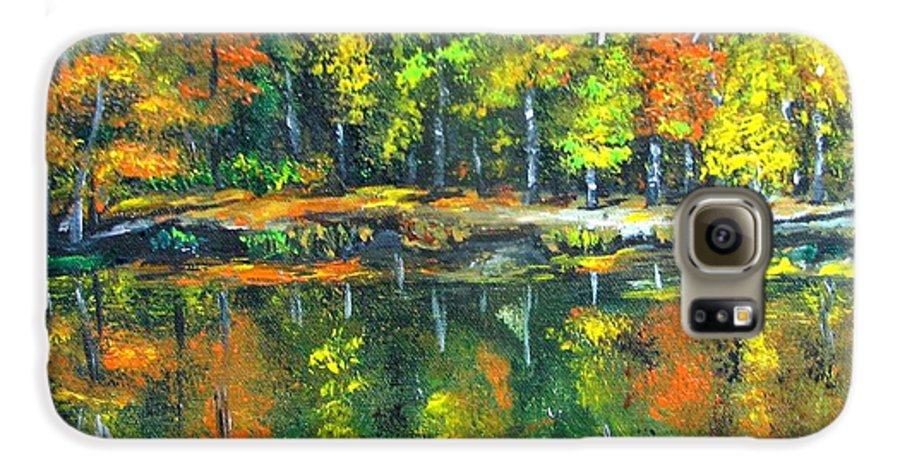 Fall Galaxy S6 Case featuring the painting Fall Landscape Acrylic Painting Framed by Natalja Picugina