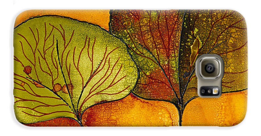 Leaf Galaxy S6 Case featuring the painting Fall Leaves by Susan Kubes