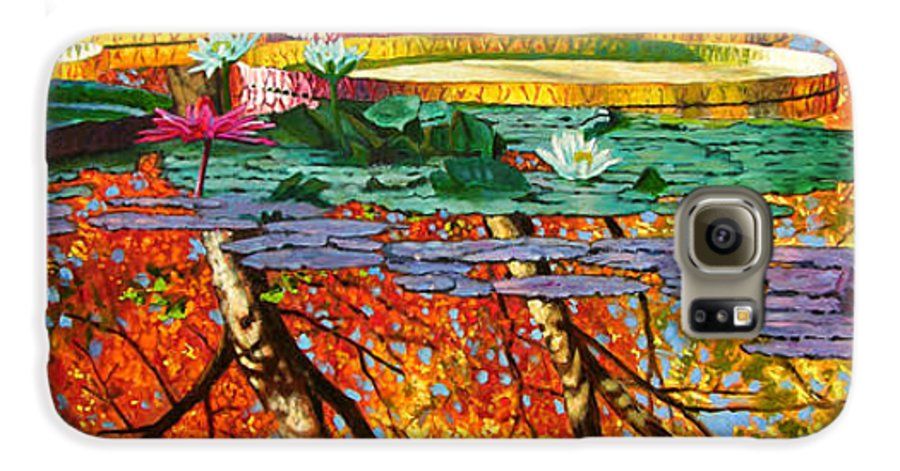 Garden Pond Galaxy S6 Case featuring the painting Fall Reflections 2 by John Lautermilch