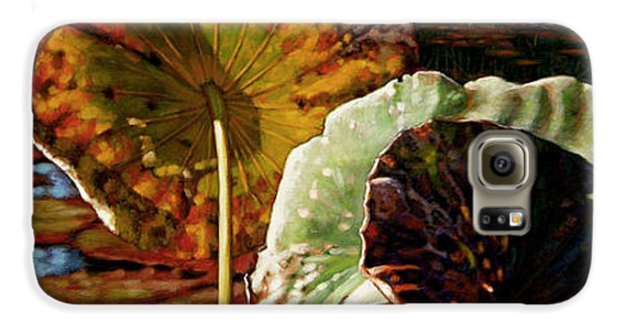 Fall Leaves Galaxy S6 Case featuring the painting Fall Trinity by John Lautermilch