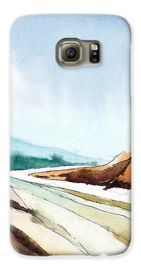 Landscape Galaxy S6 Case featuring the painting Far Away by Anil Nene