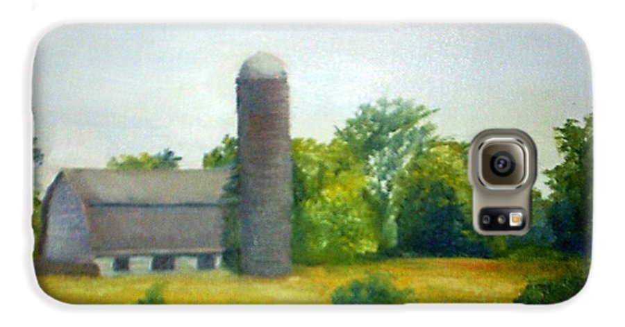 Farm Galaxy S6 Case featuring the painting Farm In The Pine Barrens by Sheila Mashaw