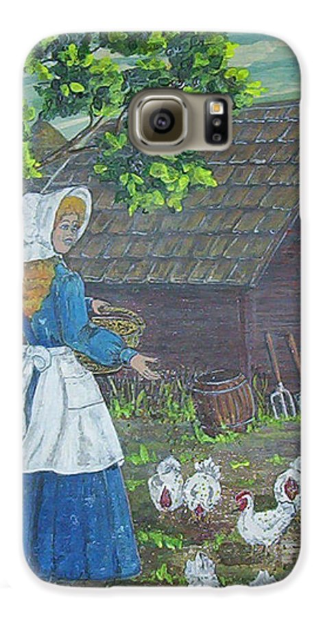 Barn Galaxy S6 Case featuring the painting Farm Work I by Phyllis Mae Richardson Fisher