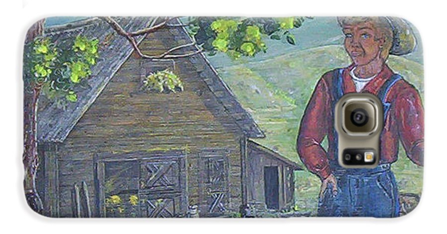 Barn Galaxy S6 Case featuring the painting Farm Work II by Phyllis Mae Richardson Fisher