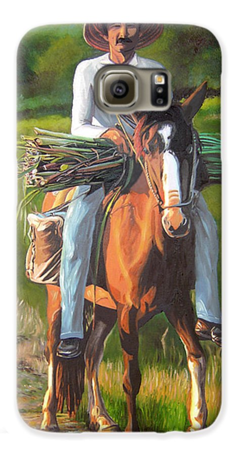 Cuban Art Galaxy S6 Case featuring the painting Farmer On A Horse by Jose Manuel Abraham