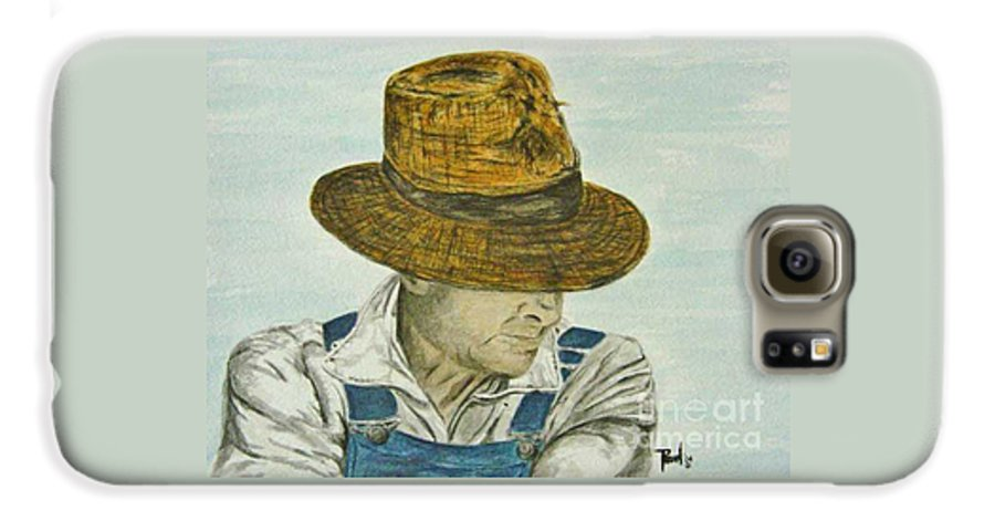Portrait Galaxy S6 Case featuring the painting Farmer Ted by Regan J Smith