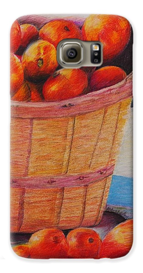 Produce In A Basket Galaxy S6 Case featuring the drawing Farmers Market Produce by Nadine Rippelmeyer