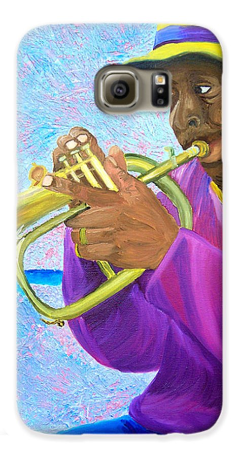 Street Musician Galaxy S6 Case featuring the painting Fat Albert Plays The Trumpet by Michael Lee
