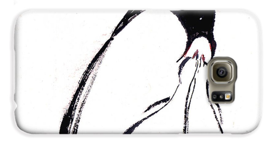 An Adult Penguin Feeding The Babies. This Is A Contemporary Chinese Ink And Color On Rice Paper Painting With Simple Zen Style Brush Strokes.  Galaxy S6 Case featuring the painting Feeding by Mui-Joo Wee