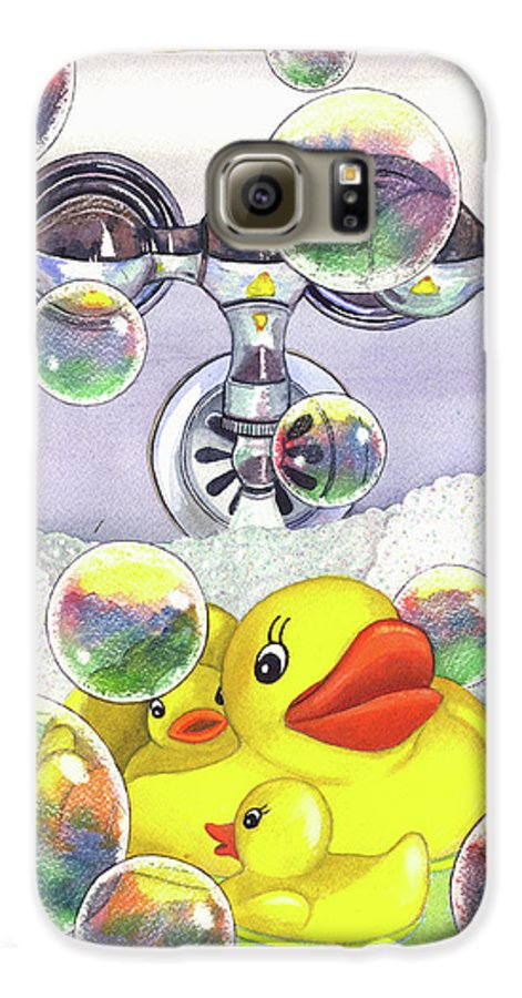 Bubbles Galaxy S6 Case featuring the painting Feelin Ducky by Catherine G McElroy
