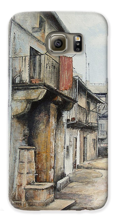 Fermoselle Zamora Spain Oil Painting City Scapes Urban Art Galaxy S6 Case featuring the painting Fermoselle by Tomas Castano