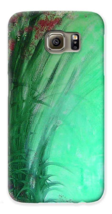 Green Ferns Galaxy S6 Case featuring the painting Ferns by Lizzy Forrester