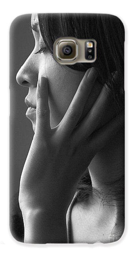 Woman Girl Candid Monochrome Hand Galaxy S6 Case featuring the photograph Ferry Girl by Sheila Smart Fine Art Photography