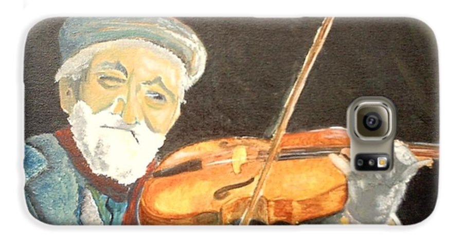 Hungry He Plays For His Supper Galaxy S6 Case featuring the painting Fiddler Blue by J Bauer