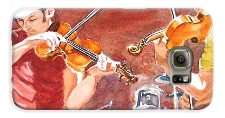 Musicians Galaxy S6 Case featuring the painting Fiddles by Karen Ilari