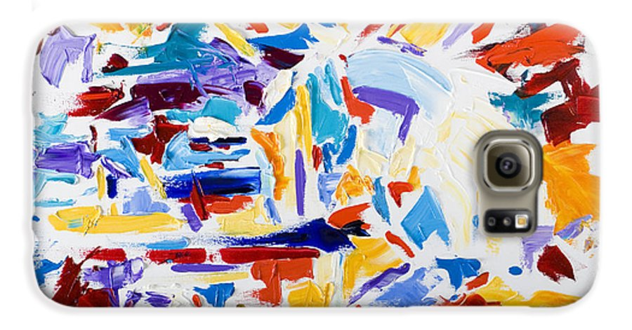 Abstract Yellow Galaxy S6 Case featuring the painting Fiesta by Shannon Grissom