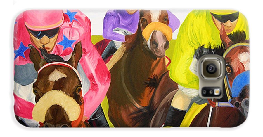 Horse Racing Galaxy S6 Case featuring the painting Finish Line by Michael Lee