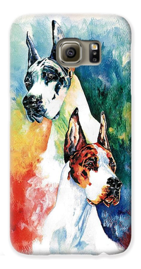Great Dane Galaxy S6 Case featuring the painting Fire And Ice by Kathleen Sepulveda
