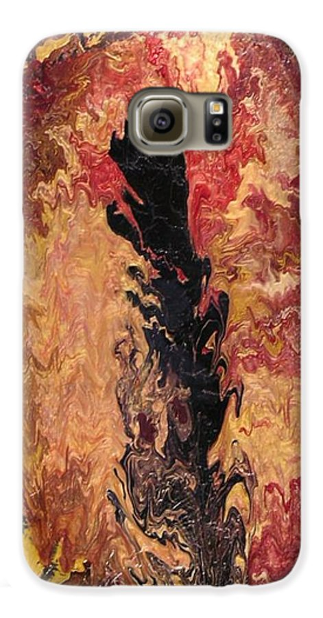 Abstract Galaxy S6 Case featuring the painting Fire - Elemental Spirit by Patrick Mock