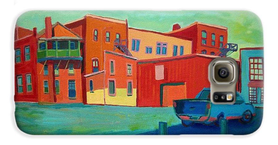 Cityscape Galaxy S6 Case featuring the painting Fire Escapes In Burlington by Debra Bretton Robinson