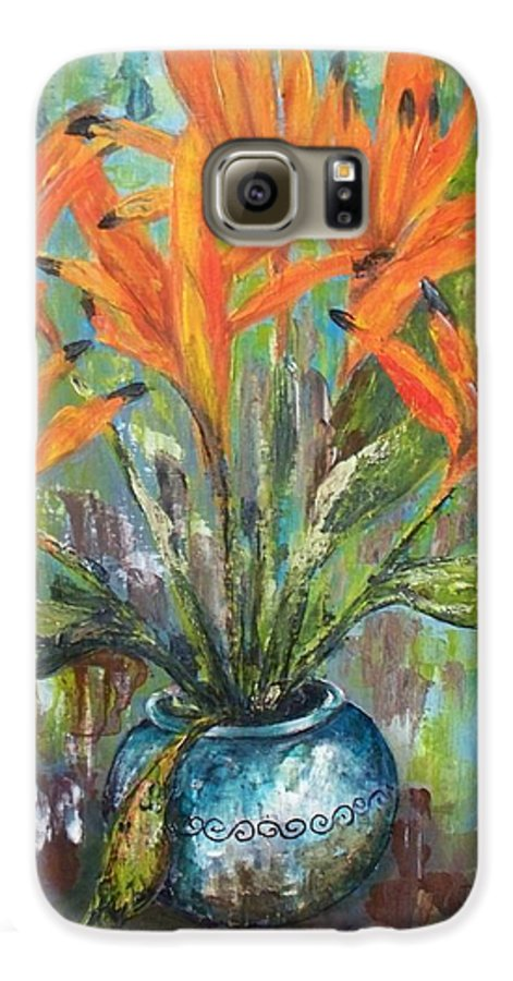 Galaxy S6 Case featuring the painting Fire Flowers by Carol P Kingsley
