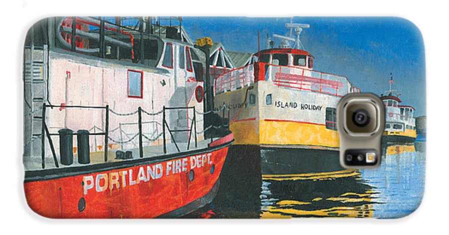 Fireboat Galaxy S6 Case featuring the painting Fireboat And Ferries by Dominic White