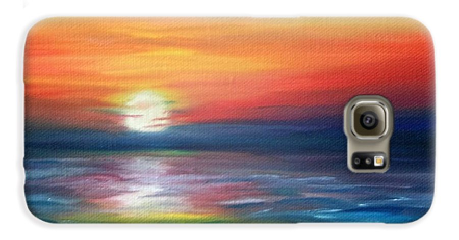 Sunrise Galaxy S6 Case featuring the painting First Light by Lora Duguay