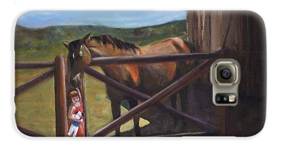 Horse Galaxy S6 Case featuring the painting First Love by Darla Joy Johnson