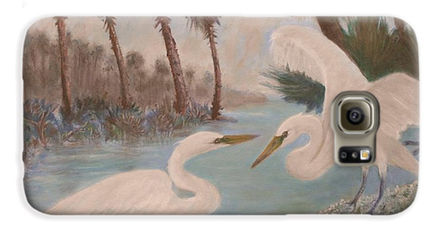 Egret Galaxy S6 Case featuring the painting First Meeting by Ben Kiger