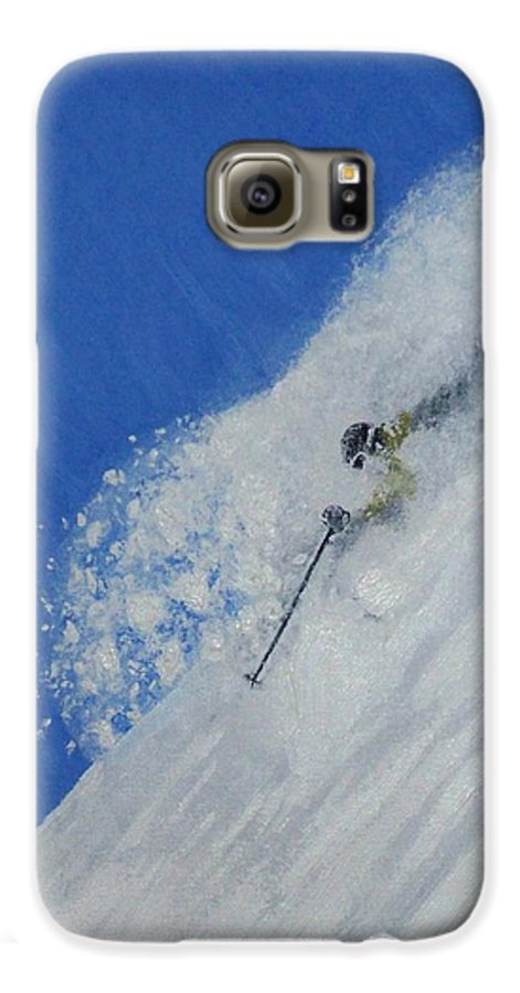 Ski Galaxy S6 Case featuring the painting First by Michael Cuozzo