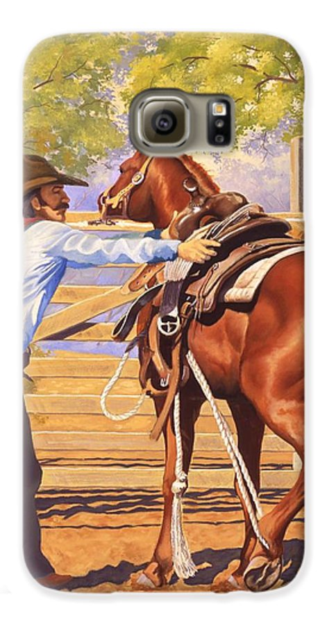 Cowboy Galaxy S6 Case featuring the painting First Saddling by Howard Dubois