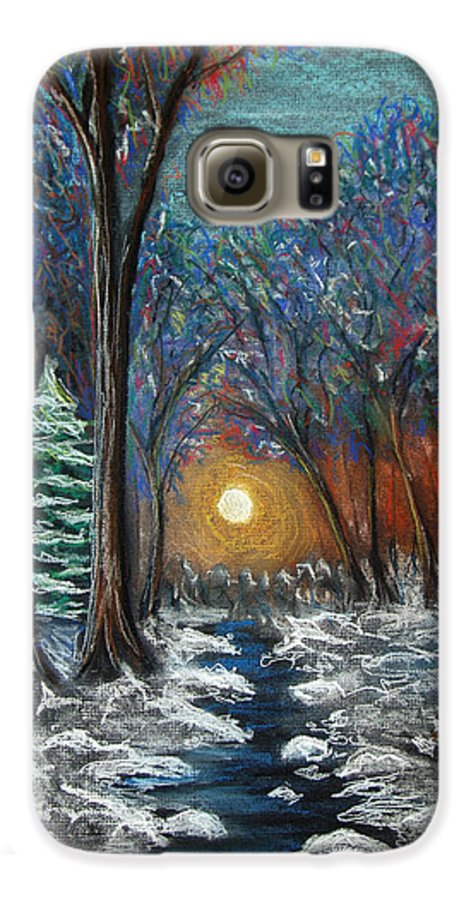Snow Galaxy S6 Case featuring the pastel First Snow by Nancy Mueller