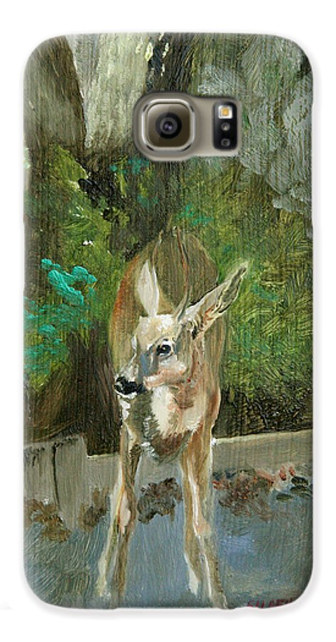 Deer Galaxy S6 Case featuring the painting First Young Buck Pad by Eileen Hale