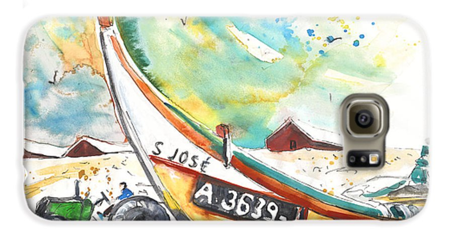 Portugal Galaxy S6 Case featuring the painting Fisherboat In Praia De Mira by Miki De Goodaboom