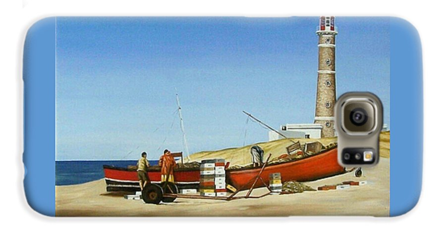 Lighthouse Fishermen Sea Seascape Galaxy S6 Case featuring the painting Fishermen By Lighthouse by Natalia Tejera