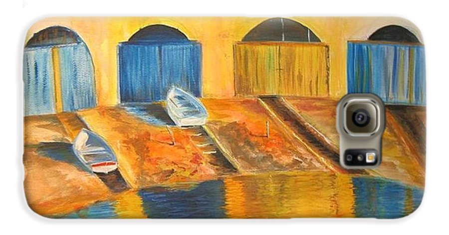 Boats Galaxy S6 Case featuring the painting Fishermens Boats At Sundown by Lizzy Forrester