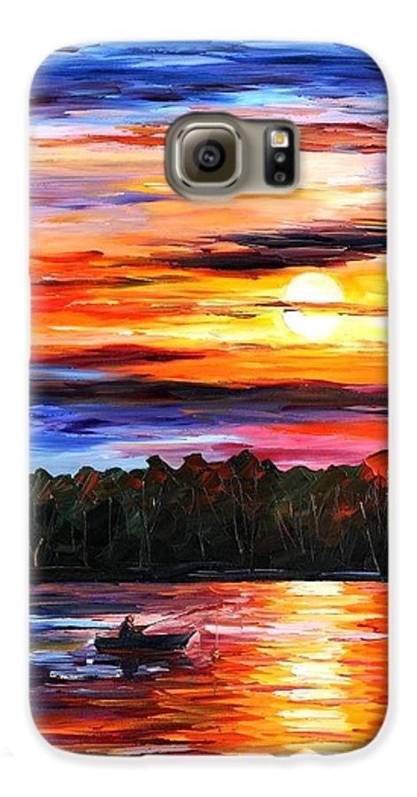 Seascape Galaxy S6 Case featuring the painting Fishing By The Sunset by Leonid Afremov