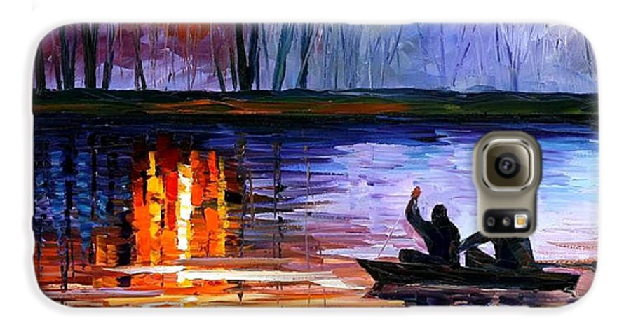 Seascape Galaxy S6 Case featuring the painting Fishing On The Lake by Leonid Afremov