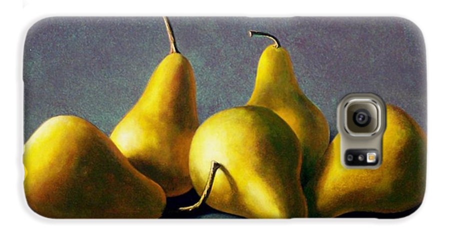 Still Life Galaxy S6 Case featuring the painting Five Golden Pears by Frank Wilson