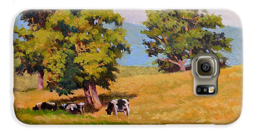 Landscape Galaxy S6 Case featuring the painting Five Oaks by Keith Burgess